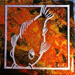 Koi: 6x6 inches, acrylic on cradled wood panel. SOLD.