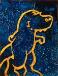 Struttin' T-Rex: 3x4 inches on cradled wood panel. SOLD.