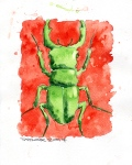 Green Beetle 01 (8x10 inches) - SOLD