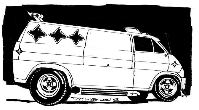 Shaggin' Wagon: 6.5x11 inches, $100
