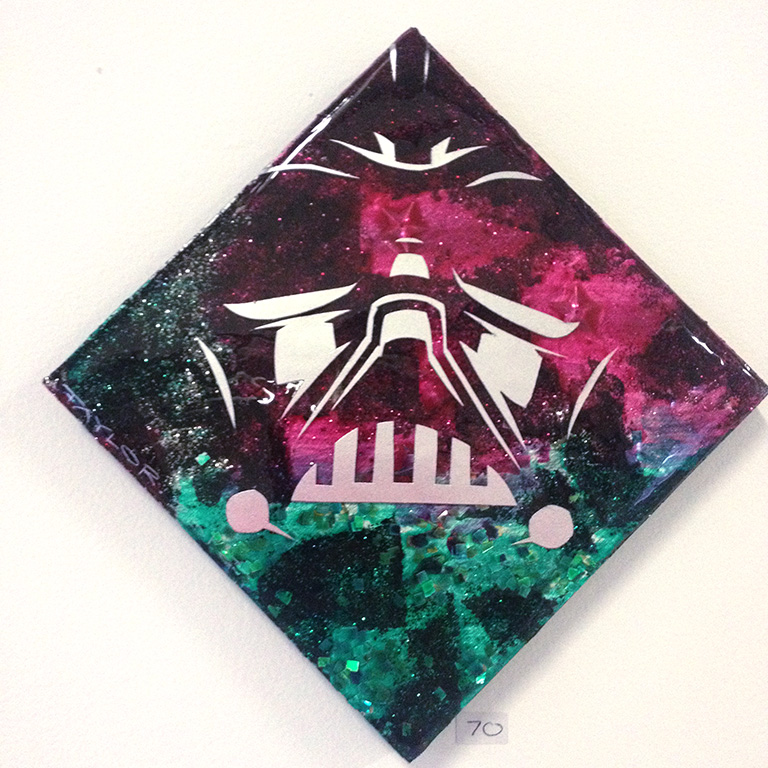 Christmas Vader: 6x6 inches, $70.